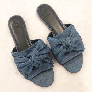 Tory Burch Annabelle Denim Bow Knot Slide Sandals